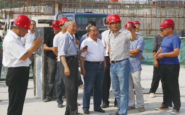 姜维山教授、于庆荣教授参观白沟和道国际项目吊装现场